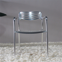 outdoor cafe welding Aluminum arm metal Rib chair