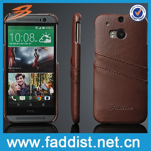Card slot back cover genuine leather case for htc m8