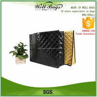 custom Non Woven Textured embossed lines Metallic Finish Lamination black gold waterproof recycled shopping tote bag