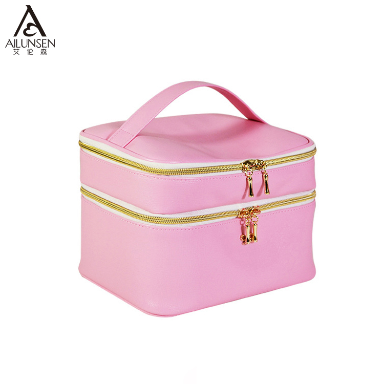Alibaba 2018 PU Leather Cosmetic Makeup Bag With Compartments