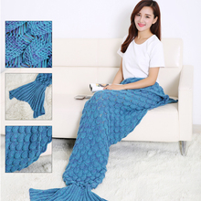 2017 Fashion Fish Scale Mermaid Knitted Tail Blankets