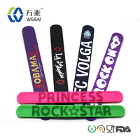 Customized promotional gift silicone slap on wrist watch, silicone slap wristband, silicone covered steel slap band
