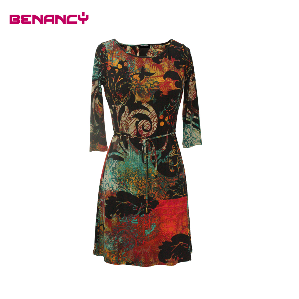Old Women Plus Size Middle Age Abstract and Ethnic Print Dress
