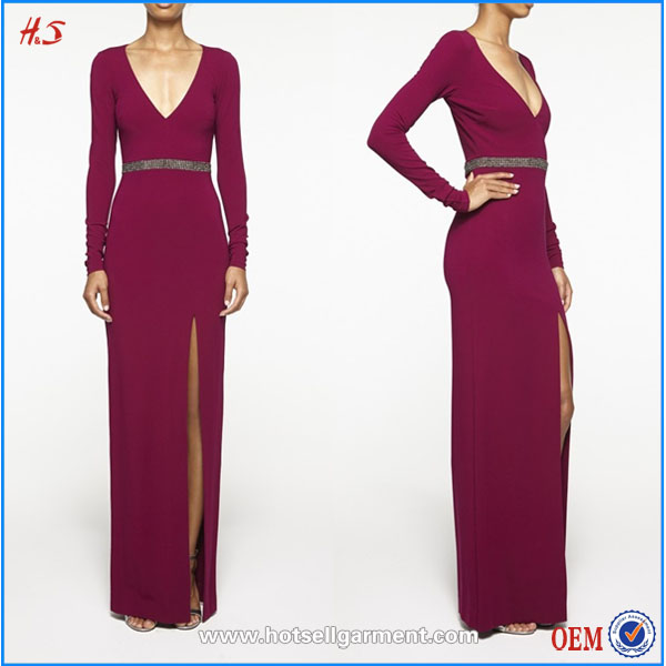 Charming front slit embellished v-neck red long sleeve open back sexy evening maxi dress wholesale