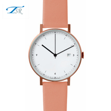 Classic style thin alloy quartz analog wrist watch leather strap japan quartz movement watches