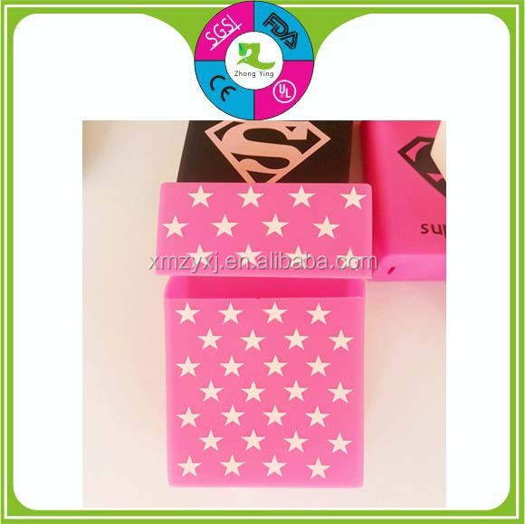 Custom make Pink Stars silicone cigarette case&silicone cigarette box