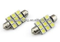 T10 39MM 9SMD 5050 Car Festoon Dome Light License Plate LED Lamp Bulb
