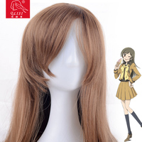 Wholesale heat resistant fiber 75cm blond long straight hair cosplay wig