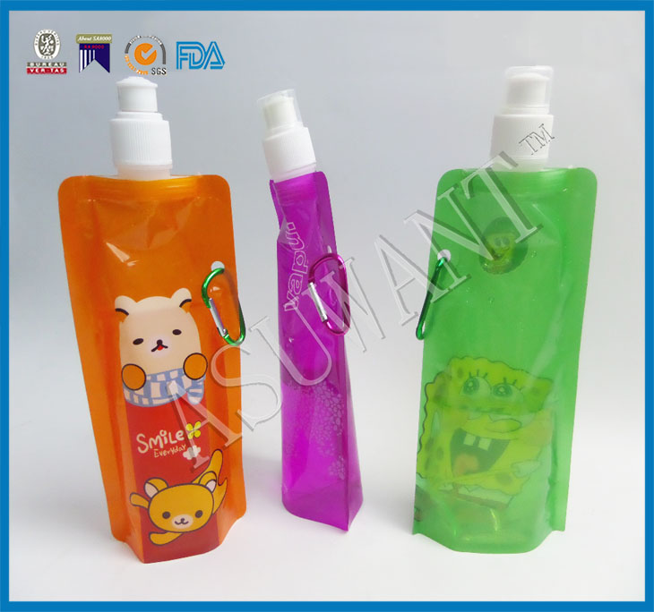Stand up plastic reusable spout pouch bag for jelly packaging