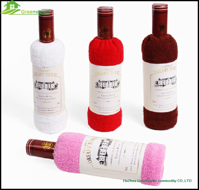 Cotton wine bottle towel cake for wedding gift fashion promotion gift wine bottle shape towel cake birthday cake towel