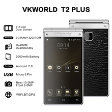 Wholesale Unlocked Smartphones vkworld T2 Plus Quad Core 1.25GHz 3+32G 2000mAh Flip Phone Wifi Folding China Mobile Phone