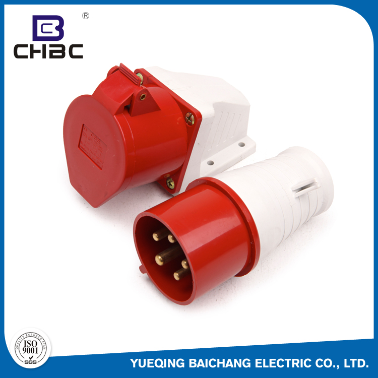 CHBC 5 Pin Red Colour High-Current Power Industrial Socket And Outlet Plug