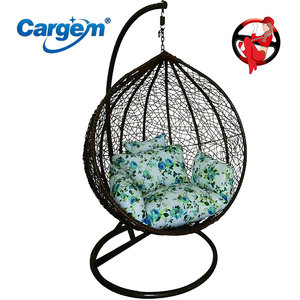 Cargem Rattan Wicker Adult Hanging Hubble Chair Hanging Egg Chair With Stand
