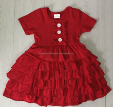 plain color baby girls ruffle clothing christmas party ruffle cake dress 2017 mayflower kids fall dress