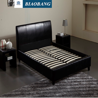 wholesale black PU and leather bed bedroom furniture with slats
