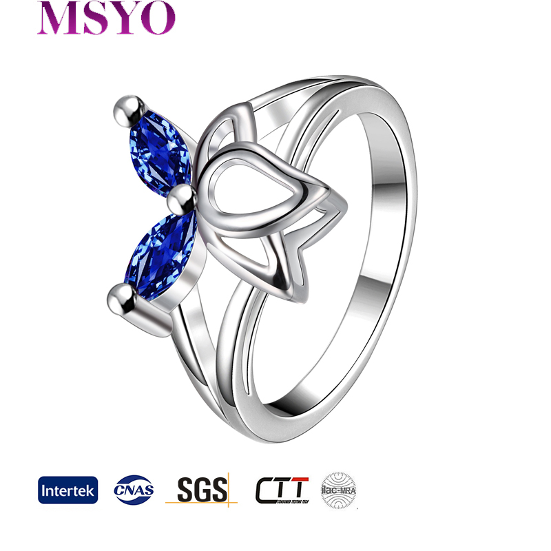 Fashion 18KG Blue Sapphire Rings Jewelry
