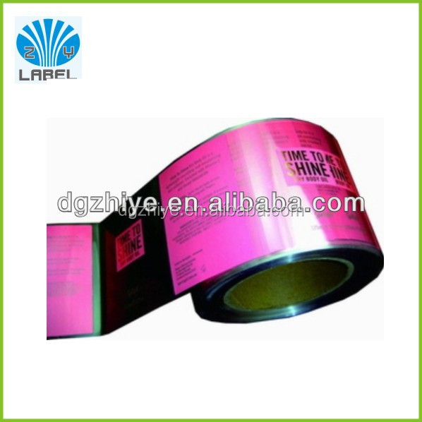2014 hot sales custom design adhesive plastic pvc label covered with glossy lamination by CMYK printing