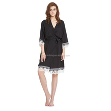 2017 latest fall cotton long sleeves with lace trim black sleeping dress women night gown bathrobe for ladies and woman