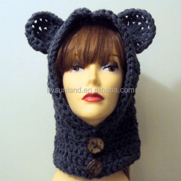 W-361 fashion winter children crochet hoodie bear ears hat for snowboard hat