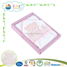 Cotton terry animal pattern embroidery baby towel set blanket