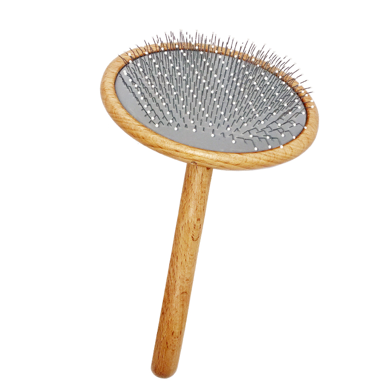 Soft slicker pad pet brush ergonomic curved handle pet slicker brush