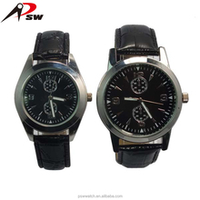 Made in China high quality leather watches military style wristwatch gift sets watch