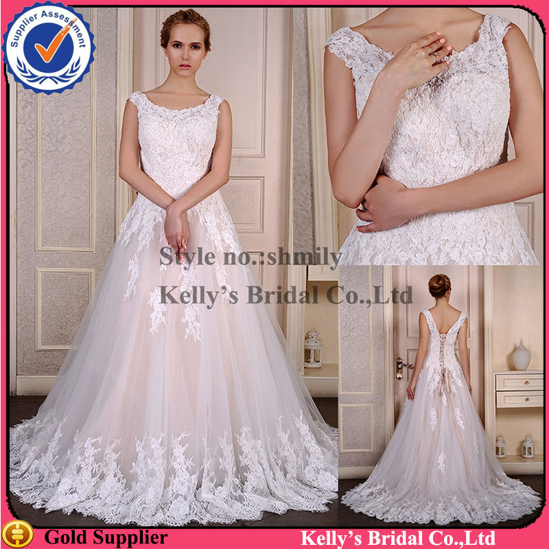 French lace champagne plus size wedding dress from china lace dress