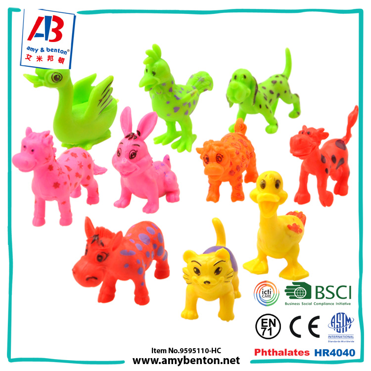 Children novetly farm animal toys small rubber animal toys for sale