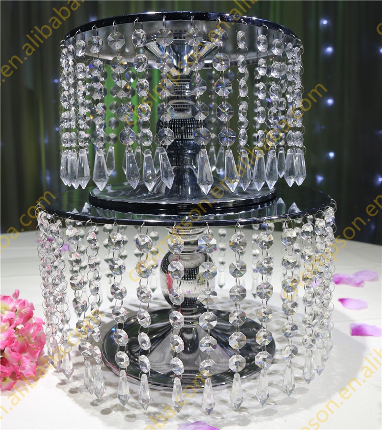 Crystal wedding round hot seller nice metal carriage cake stand