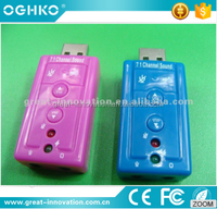 Mini usb 7.1 recording sound card for compuetr