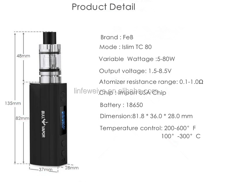 Top Selling FEB E Cigarette Mechanical Mod Vaping 80W Mod Kit with Drop Shipping