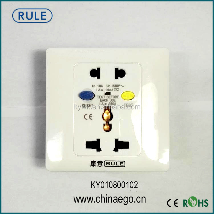 Good Quality 3 Pin Universal Water Heater Leakage Protection Socket Electric Safely With CE Approval