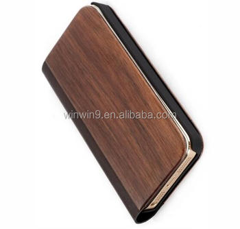 2017 Hot Sell Flip wood mobile phone case for iphone 6 plus phone case
