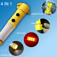 4 in 1 Car Safety Hammer High Quality Portable Multifunctional Safety Hammer with Led Flashing Light Escape Tool