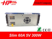 Hot selling Ultra thin CE ROHS approved constant voltage single output smps 300w 60 ampere 5 volts cob led driver