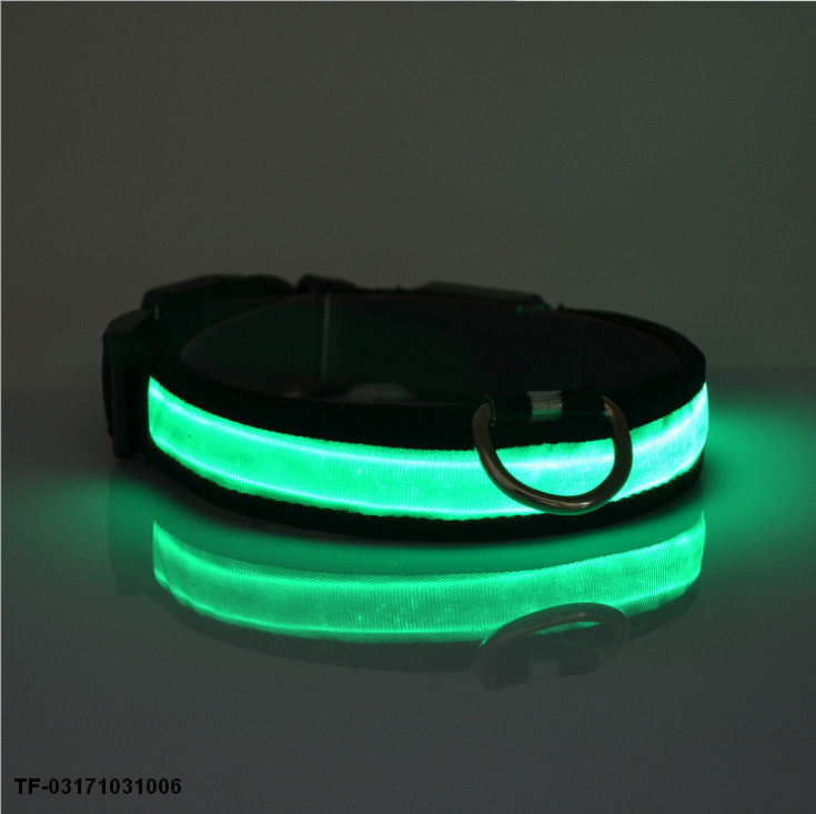 Nylon LED Pet Dog Collar,Night Safety Flashing Glow In The Dark Dog Leash,Dogs Luminous Fluorescent Collars Pet Supplie