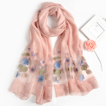 Custom logo print Embroidered Wholesale silk viscose polyester mixture blended scarf magic muslim hijab Scarf