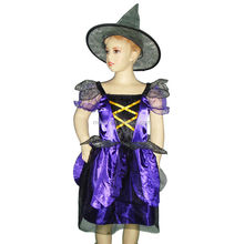 Party Carnival girl kids purple witch costume for children MAC-10