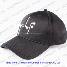 Black Golf Embroidery Needlepoint Hats for Adults