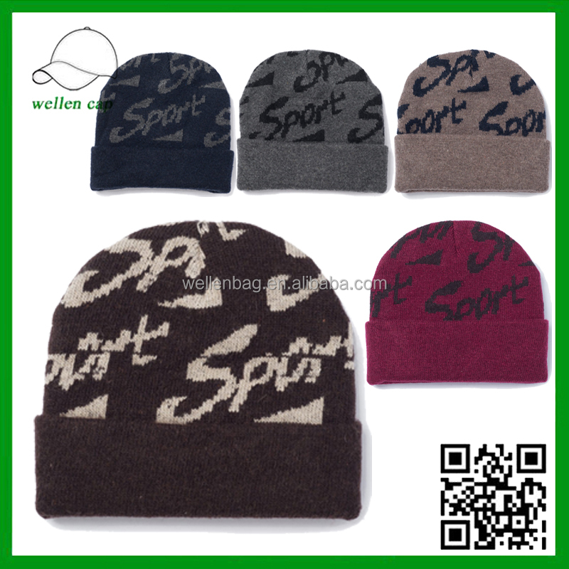 Cheap but Quality Long Beanie Hats Dozen Sale Brim Fold up 100% Acrylic Beanie