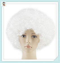 Cheap Silver White Synthetic Short Curly Football Fan Afro Wigs HPC-1911