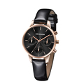 Shiny strap black chronograph lady watch