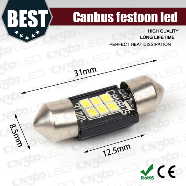 6PCS 31mm 3020 canbus SMD LED Car Interior Dome Light Lamp Festoon White Bulb Light Festoon LED Licence Plate light