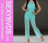 2014 sexy beautiful lady light blue lace jumpsuit
