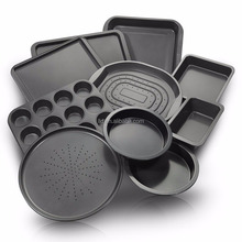 QF0810-DJ 10-Piece Non-Stick Bakeware Set Including Oven Crisper/Pizza Tray/Roasting/Loaf/Muffin/Cake Baking Pans/Cookie Sheet