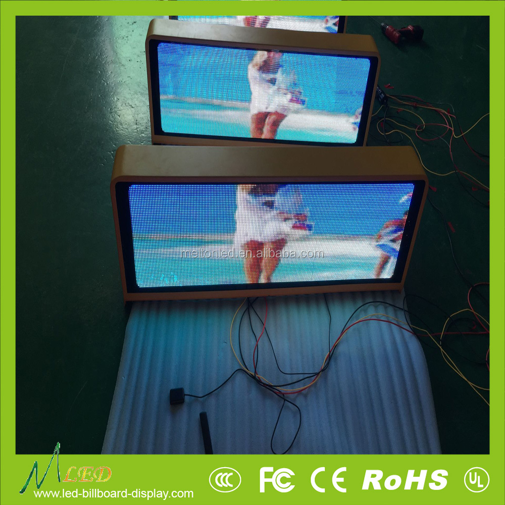 Hot sale outdoor 3g/wifi wireless bus/car/truck roof led taxi top advertising sign from Shenzhen Melton