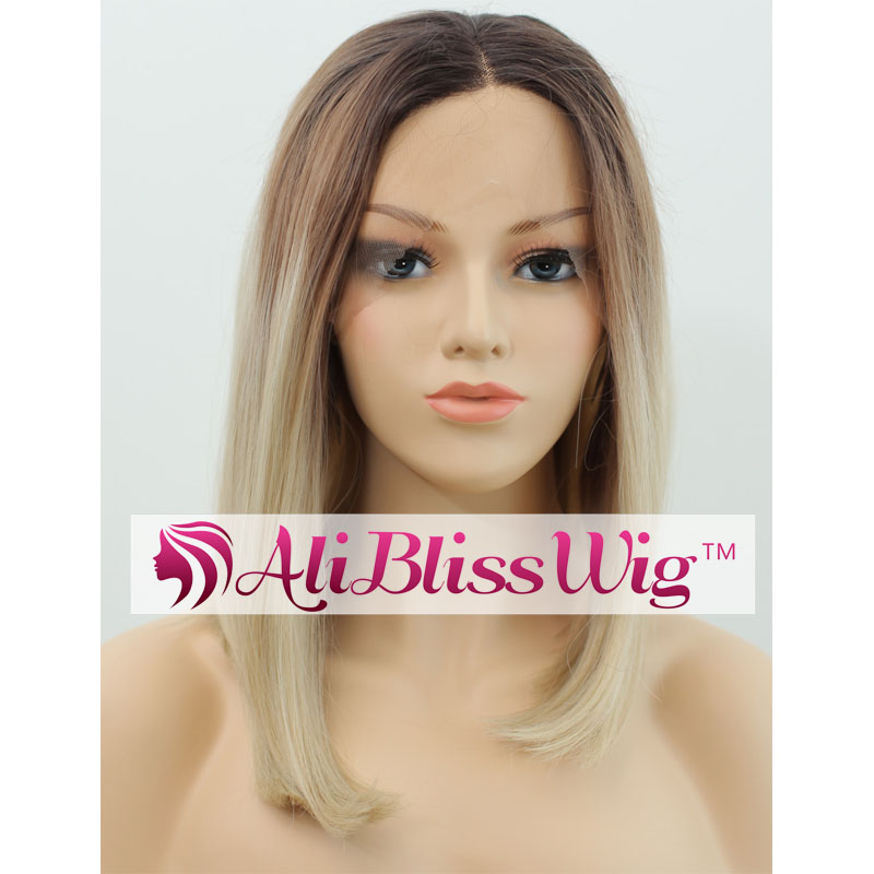 Heat Friendly Fiber Hair Dark Roots Ombre Brown Blonde Middle Part Lace Front Straight Short Bob Synthetic Wig for Black Women
