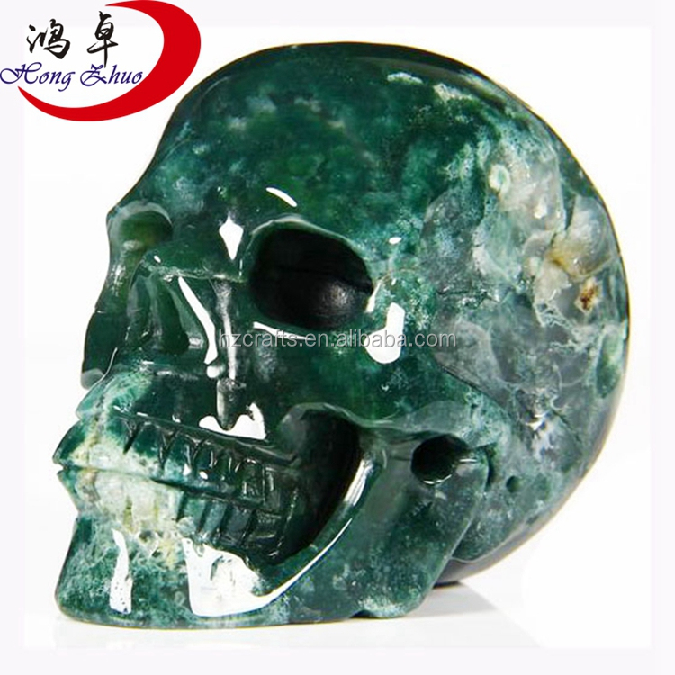 Natural Indian agate Crystal Carved Human Skull Carving See larger image Natural green agate Crystal Carved Human Skull