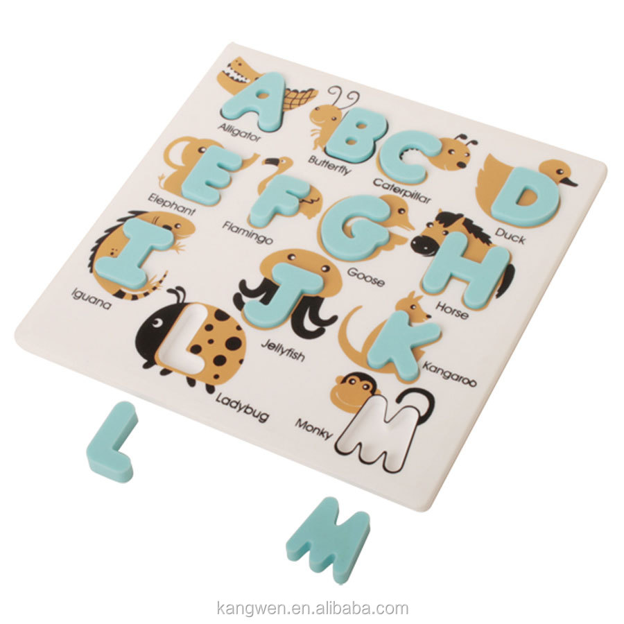 funny and educational silicone animal alphabet puzzles for kids NN020