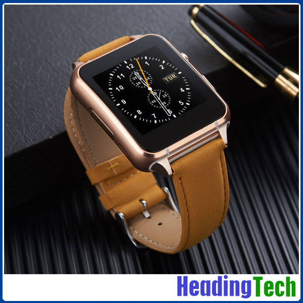 2017 high recommended curved touch screen Ceramic sandblasting GSM calling Bluetooth smart watch with genuine leather strap